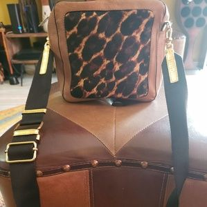 Brown and animal print calf hair and leather purse